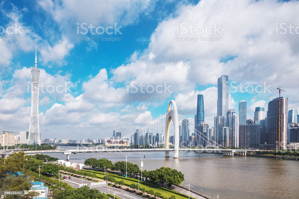 skyline of modern city with cloudscape in guangzhou stock photo