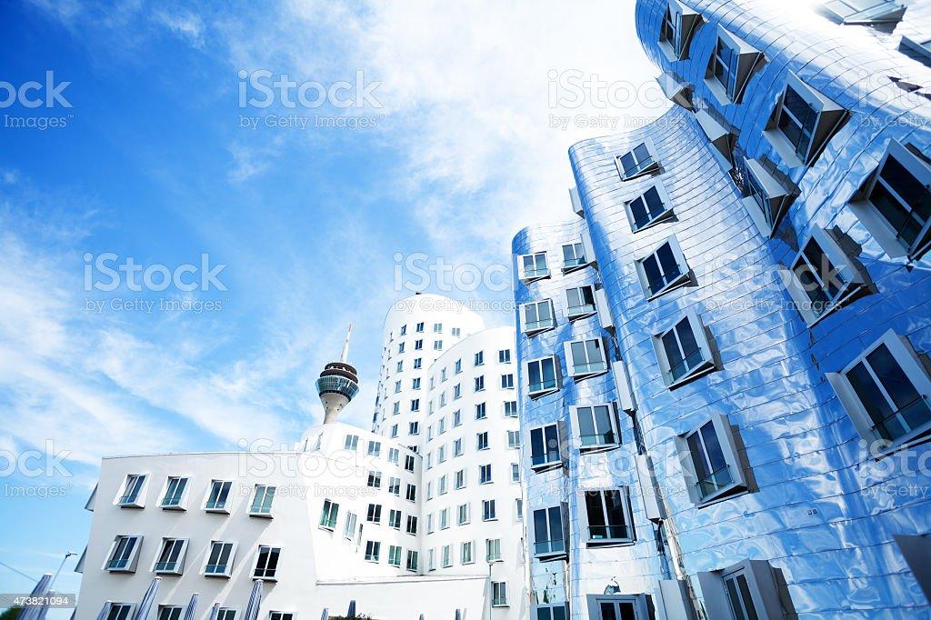 Skyline of modern office buildings Zollhof Düsseldorf stock photo