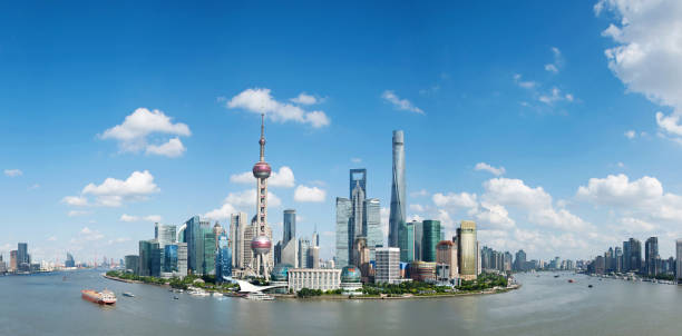 Skyline of modern shanghai, china Skyline of modern shanghai, china. oriental pearl tower shanghai stock pictures, royalty-free photos & images