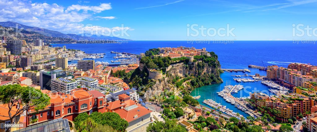 Skyline of Monaco with Prince Palace, old town and port stock photo