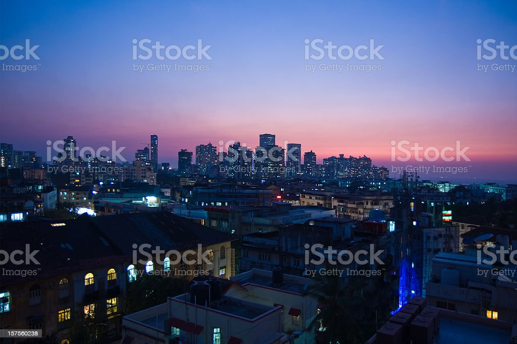 skyline of Mumbai India at night stock photo
