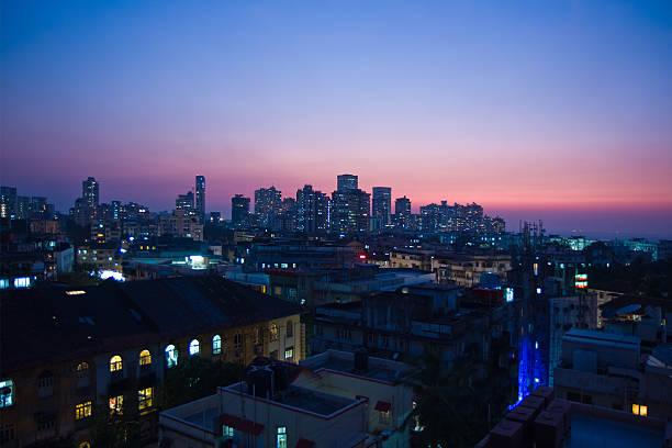 skyline von Mumbai Indien in der Nacht – Foto
