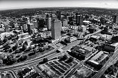 The skyline of beautiful Nashville, Tennessee, in black and white shot from an altitude of about 600 feet.