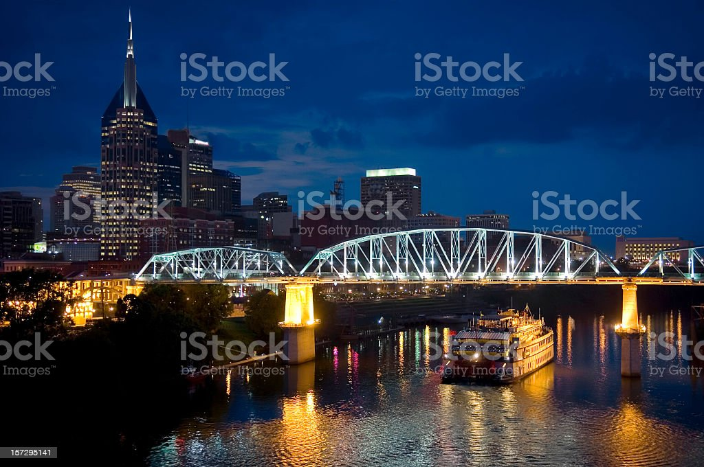Skyline of Nashville, Tennessee at night royalty-free stock photo