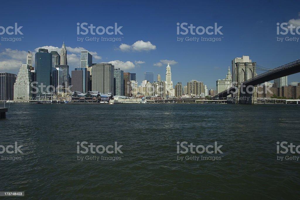 Skyline of New York and Brooklyn Bridge royalty-free stock photo