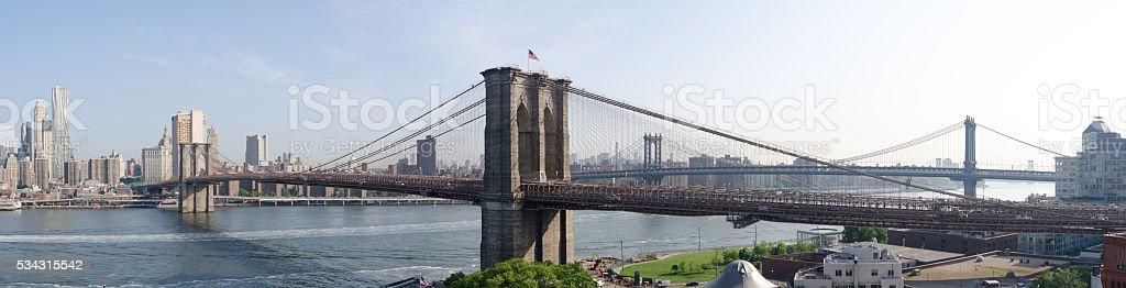 Skyline of New York City and the Brooklyn Bridge stock photo