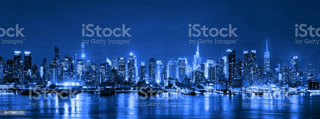 Skyline of New York City at night, Skyscrapers, downtown, USA stock photo