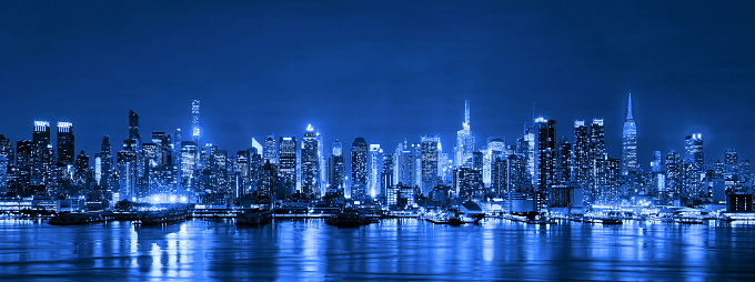 Skyline Of New York City At Night Skyscrapers Downtown Usa