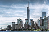 Skyline of lower Manhattan of New York City with World Trade Center