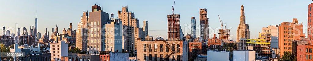 skyline of New York in sunset stock photo