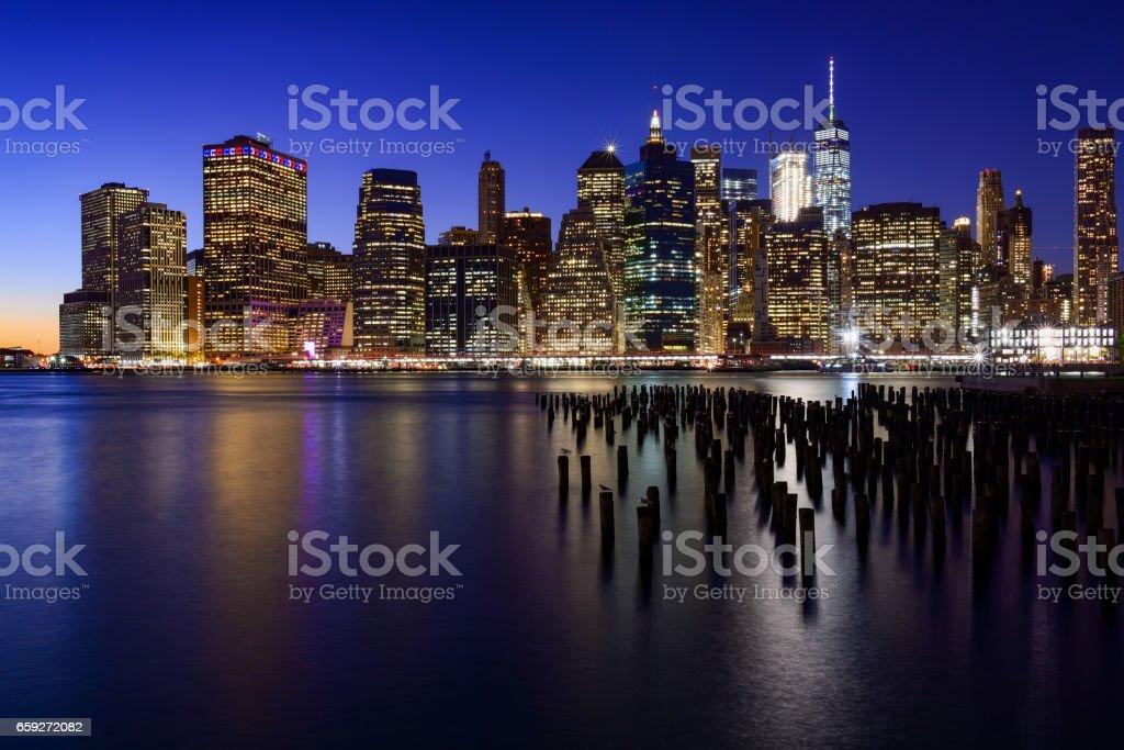 Skyline of New York Manhattan (Downtown) - foto de stock