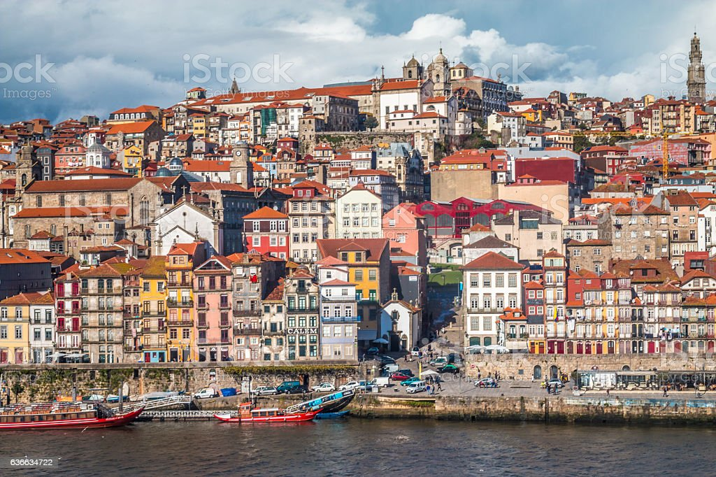 Skyline of Old city Porto in Portugal stock photo