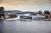 The modern Skyline of Oslo in Norway with opera house