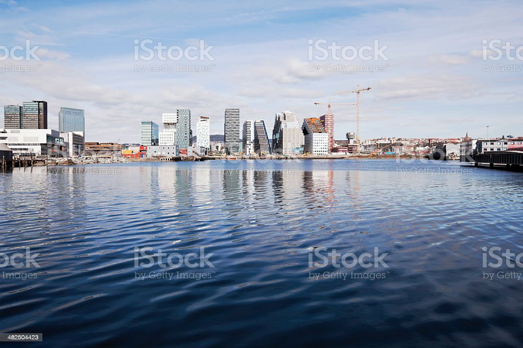 Skyline of Oslo reflecting in water. royalty-free stock photo