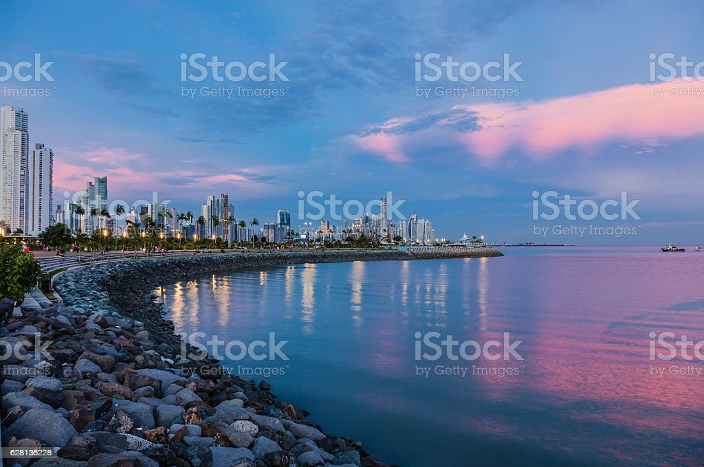 Skyline of Panama City at blue hour stock photo