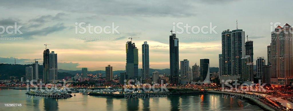 Skyline of Panama City in the evening stock photo