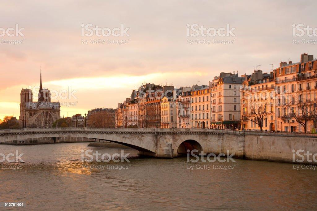 Skyline of Paris at sunset stock photo