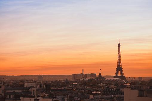 skyline of Paris, sunset panoramic view of Eiffel Tower