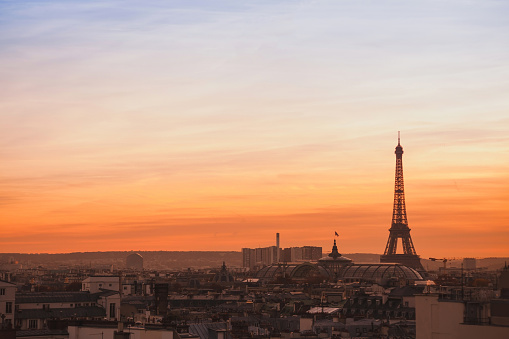 skyline of Paris, sunset panoramic view of Eiffel Tower