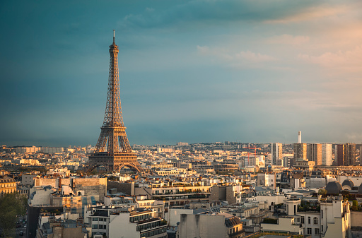 Skyline of Paris with Eiffel Tower during sunset (Paris, France)