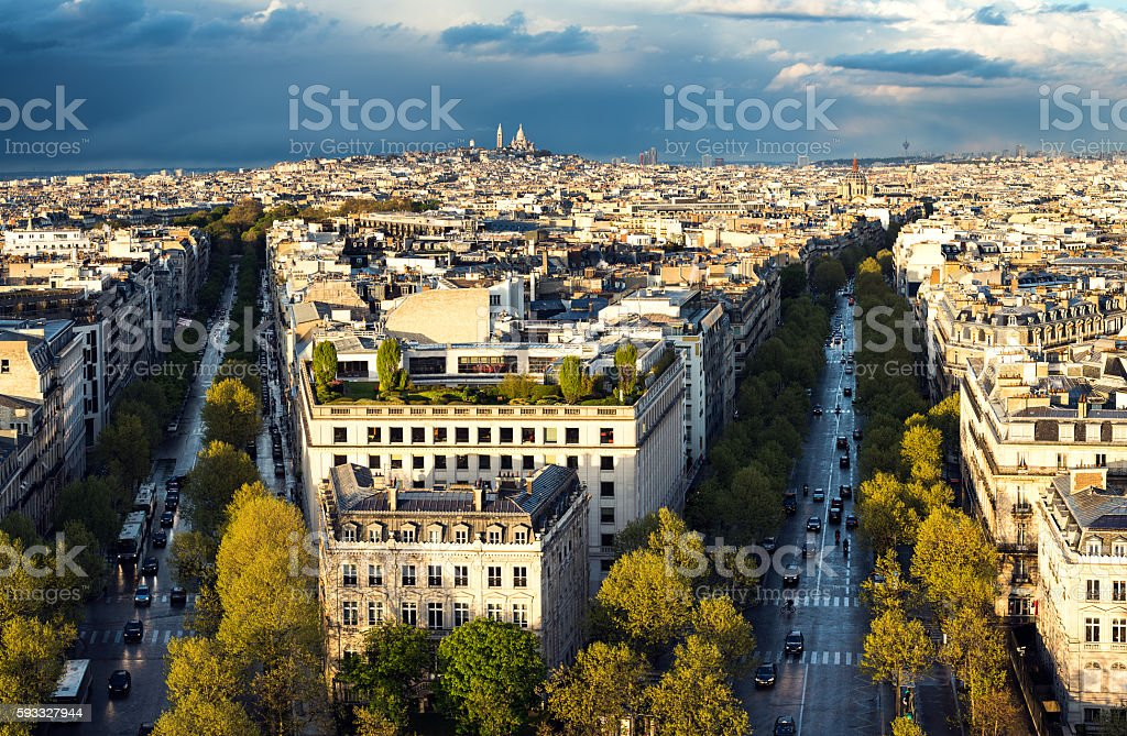 Skyline Of Paris With Sacre Coeur At Sunset stock photo