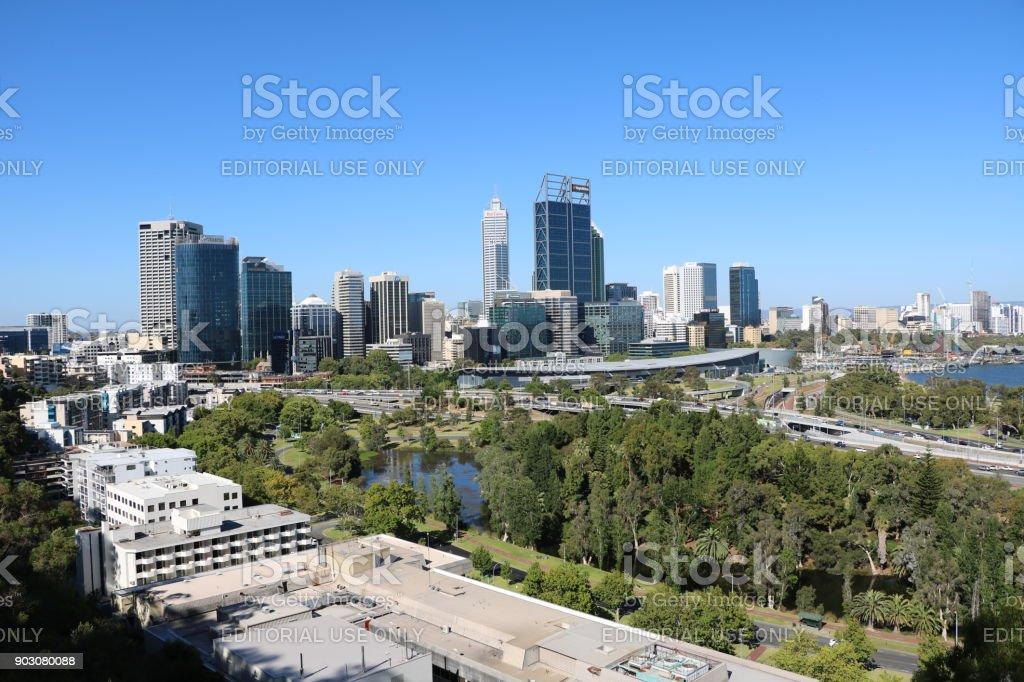 Skyline of Perth in Western Australia stock photo