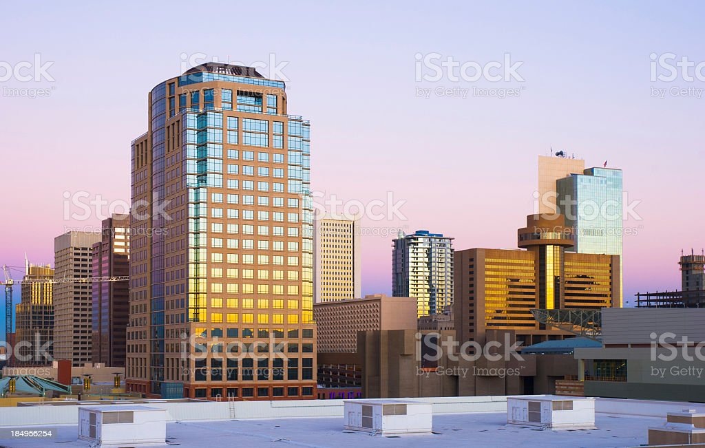 Skyline of Phoenix at dawn illustration royalty-free stock photo