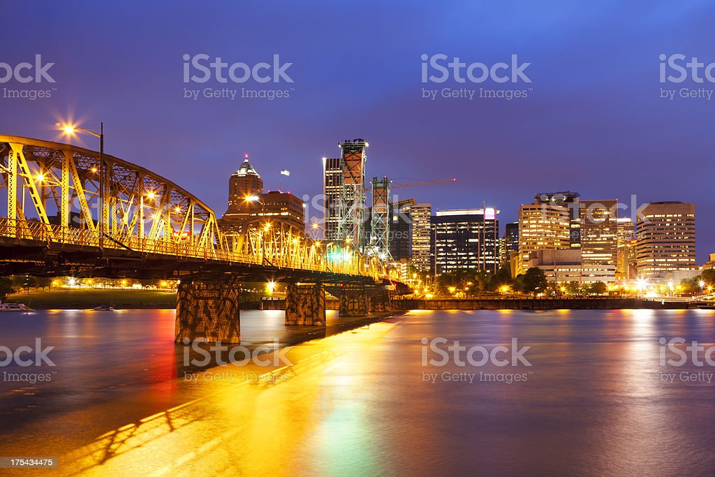 Skyline of Portland, Oregon across the Willamette River, at night royalty-free stock photo