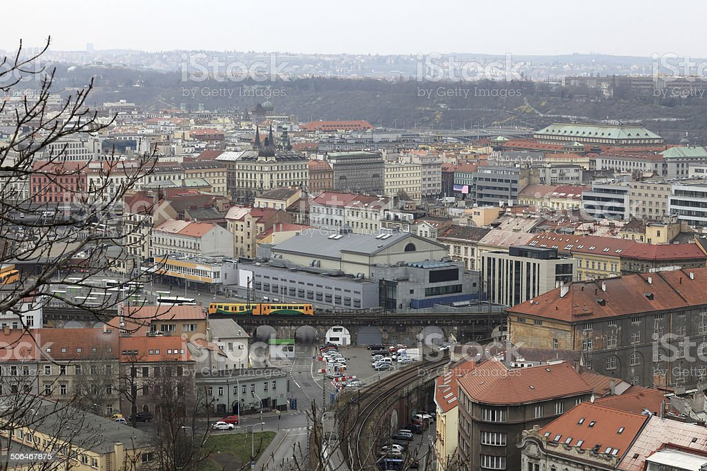 Skyline of Prague from Vitkov hill stock photo