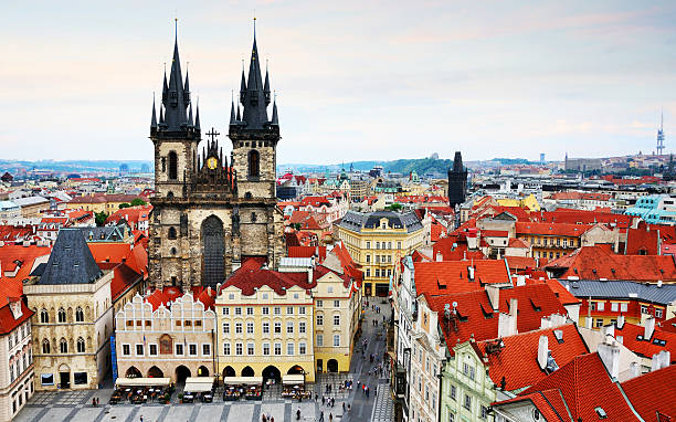 Skyline of Prague Panoramic view of the Old Town Square in Prague, Czech Republic tyn church stock pictures, royalty-free photos & images