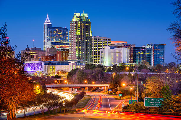 skyline of raleigh, north carolina - downtown stock photos and pictures