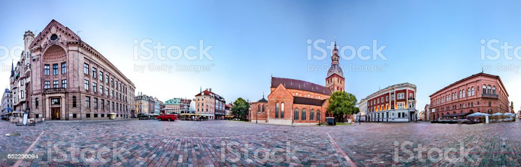 Skyline of Riga old town stock photo
