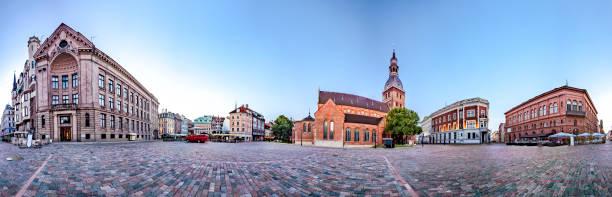 Skyline of Riga old town stock photo