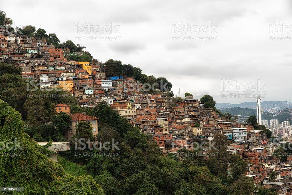Skyline of Rio de Janeiro Slums on Mountains stock photo