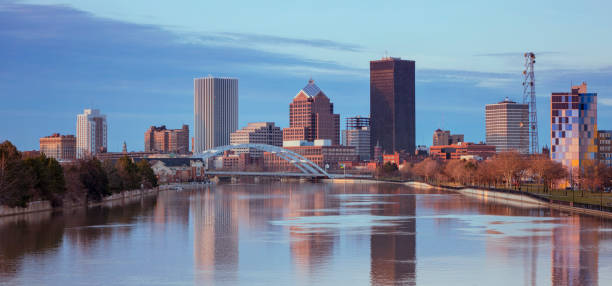 skyline of rochester city - rochester ny skyline stock photos and pictures