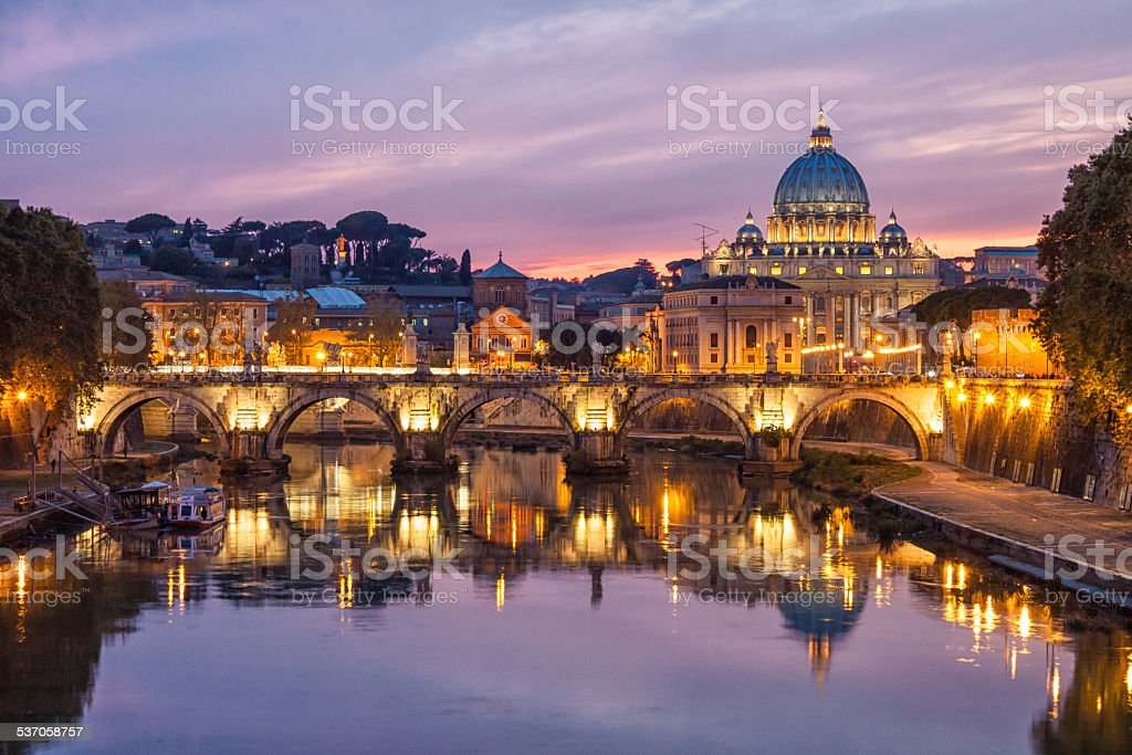 Skyline of Rome and St. Peter's Basilica, Italy. stock photo