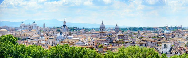 Skyline of Rome at sunny day Supersized panorama skyline of Rome at sunny day. Composite photo ancient rome stock pictures, royalty-free photos & images