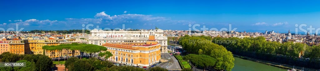 Skyline of Rome, Italy. Panoramic view of Rome architecture and landmark, Rome cityscape. Rome postcard stock photo