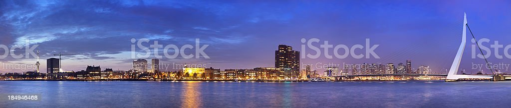 Skyline of Rotterdam, The Netherlands across river Meuze at night stock photo