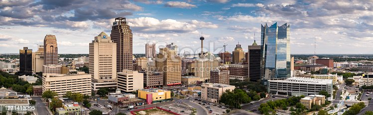 Aerial panorama of San Antonio, Texas on a cloudy afternoon.