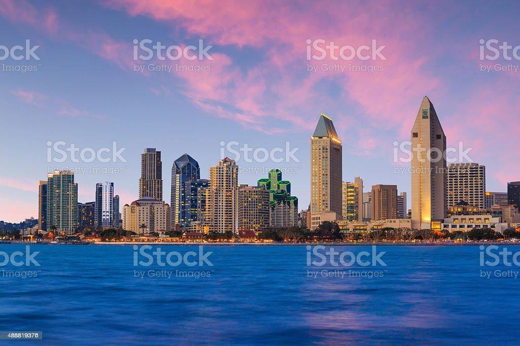Skyline of San Diego, California from Coronado Bay stock photo