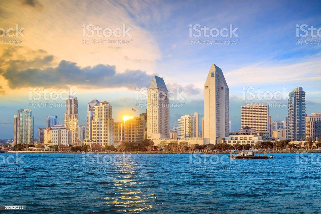 Skyline of San Diego, california stock photo