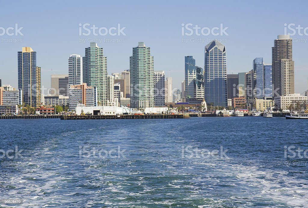 Skyline of San Diego from the water stock photo