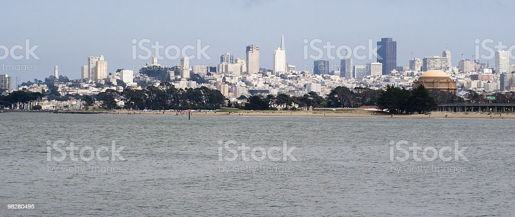 Skyline of San Francisco and a bay royalty-free stock photo