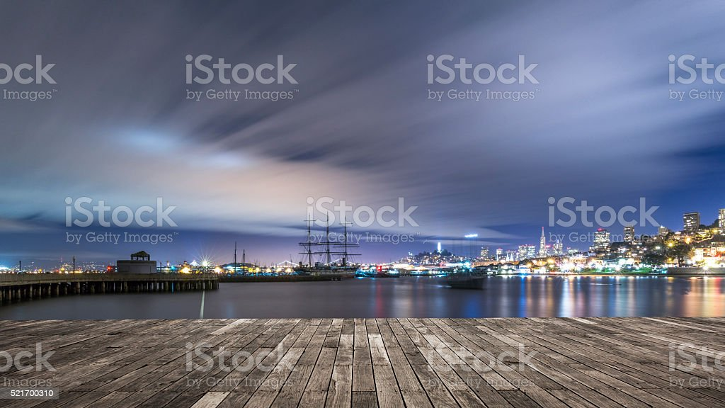 skyline of San Francisco at night stock photo
