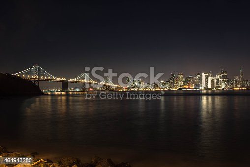 A night view of the New Bay Bridge and the skyline of San Francisco