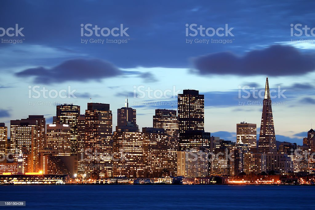 Skyline of San Francisco during sunrise royalty-free stock photo