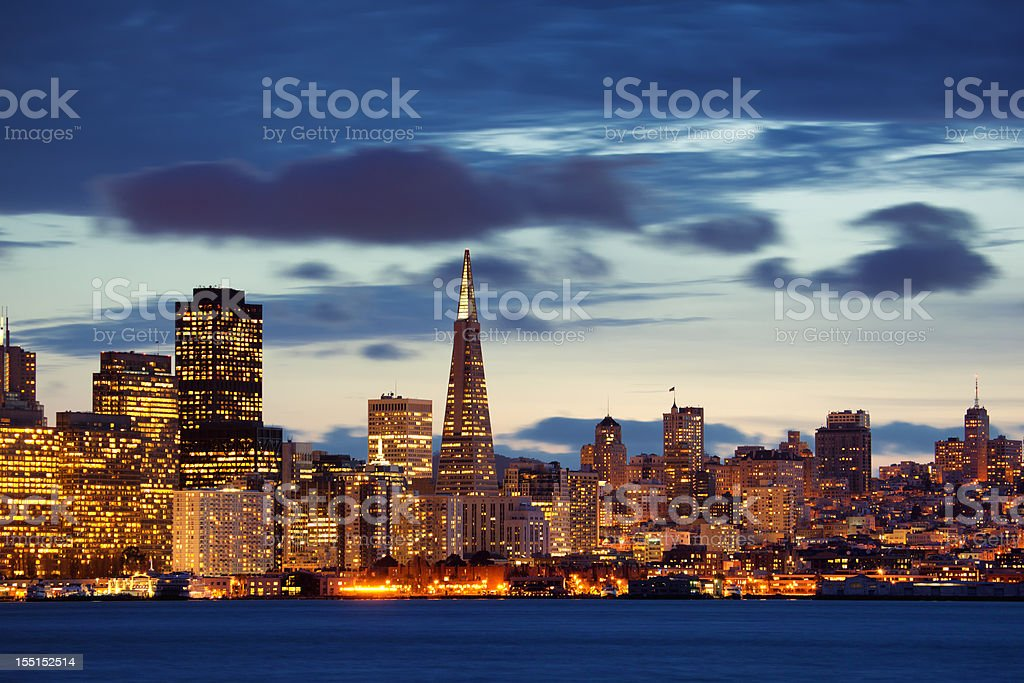 Skyline of San Francisco during sunset royalty-free stock photo