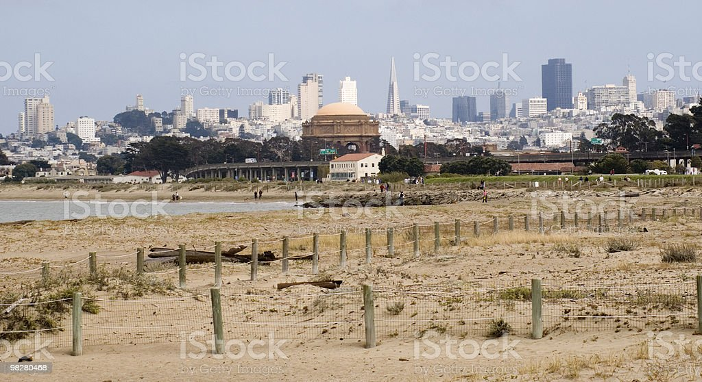 Skyline of San Francisco from a beach royalty-free stock photo