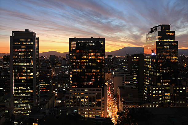 Skyline of Santiago (Chile) by night. stock photo